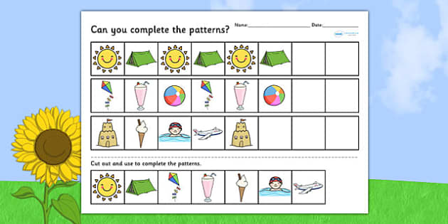 Summer Differentiated Complete the Pattern Worksheets - seasons