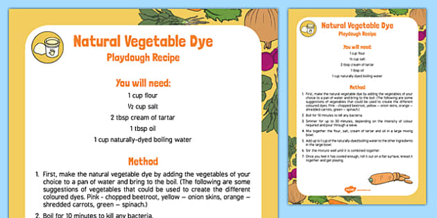 Natural Vegetable Dye Playdough Recipe