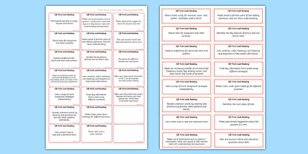 CfE First Level Reading Benchmark Assessment Stickers