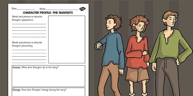 Stig of the Dump Snargets Character Profile Writing Template - story books, ks2