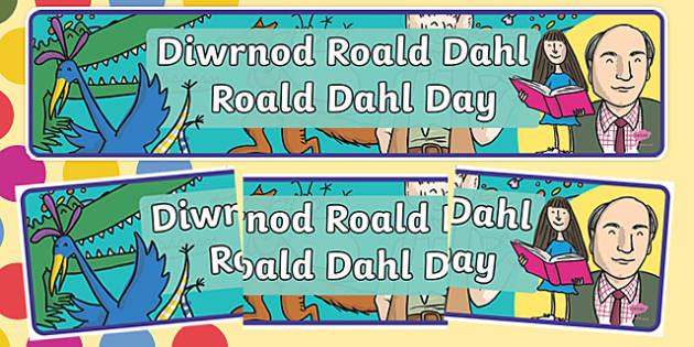 Roald Dahl Day Welsh Bilingual Display Banner