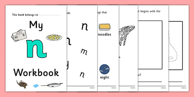 My Workbook n lowercase - workbook, n sound, lowercase, letters, alphabet, activity, handwriting, writing