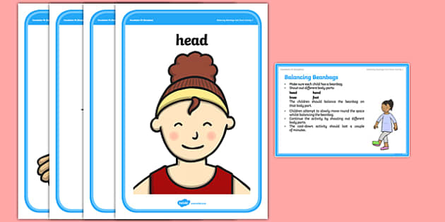 Foundation PE (Reception) Balancing Beanbags Cool-Down Activity Card - physical activity, foundation stage, physical development, games, dance, gymnastics