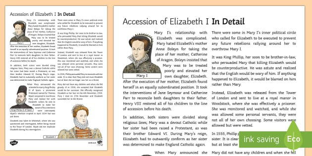 The Accession of Elizabeth I Information Sheet - Elizabethan Religious Settlement, Protestant, Catholics, religion, religious, plots, rebellion, over