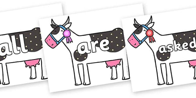 Tricky Words on Cow to Support Teaching on What the Ladybird Heard - Tricky words, DfES Letters and Sounds, Letters and sounds, display, words