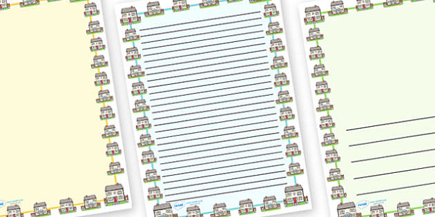 House Home Page Borders - house, home, building, houses, page border, border, writing template, writing aid, writing