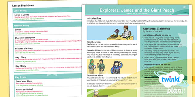PlanIt Y4 Explorers: James and the Giant Peach Topic Overview - James and the Giant Peach, Roald Dahl, Play Scripts, Non-Chronological Reports, Persuasive Writing,
