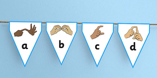 British Sign Language Alphabet Display Bunting - bunting, display
