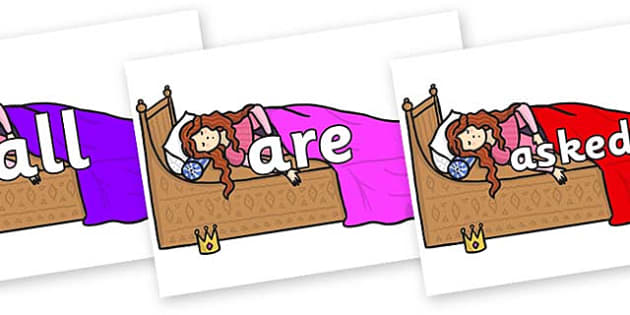 Tricky Words on Sleeping Beauty Bed - Tricky words, DfES Letters and Sounds, Letters and sounds, display, words