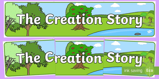 Adam and Eve Creation Story Display Banner - usa, america, Adam, Eve, Eden, serpent, fruit, earth, garden, creation, creation story, display, banner, sign, poster, paradise, sea creatures, birds, stars, moon, sun, tree, evil, knowledge, animals, sky,