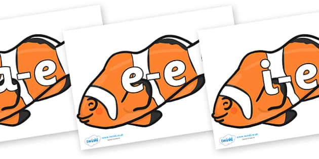 Modifying E Letters on Clown Fish - Modifying E, letters, modify, Phase 5, Phase five, alternative spellings for phonemes, DfES letters and Sounds