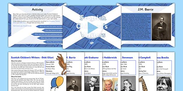 Scottish Children's Writers Information Sheet Resource Pack - CfE, Literacy and English, authors, Scottish Children's writers, R.L Stevenson, Kenneth Grahame, J.M Barrie, Mairi Hedderwick