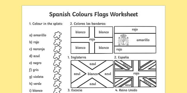 Colouring Flags Worksheet - worksheets, flag, colour