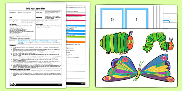 Food Addition Game EYFS Adult Input Plan and Resource Pack to Support Teaching on The Very Hungry Caterpillar - EYFS, Early Years planning, adult led, Eric Carle, minibeasts, Maths, counting, fruit.