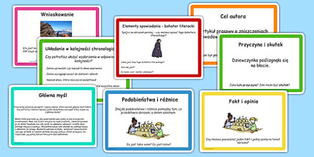 Zestaw kart do czytania ze zrozumieniem po polsku - lektury