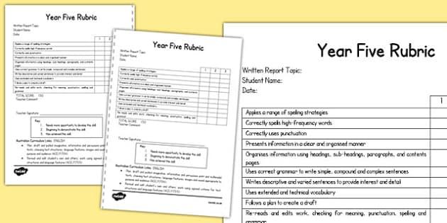 Written Report Rubric Year Five - australia, written, report, rubric, year 5