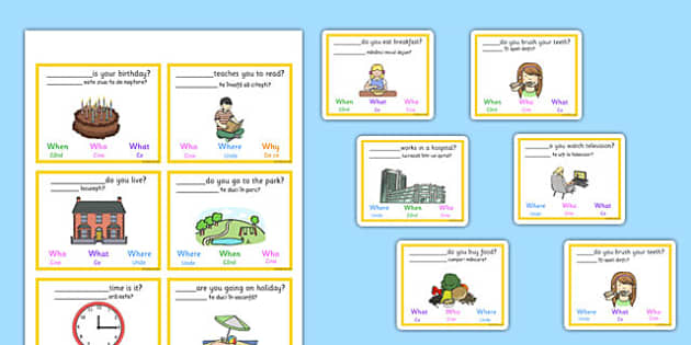 What Is The Missing Question Word Multiple Choice Cards Romanian Translation - romanian, missing question