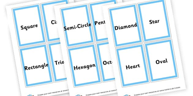 Shape Name Cards - 2D Shapes, Display, 2D Shape Primary Resources, spaces, measures,