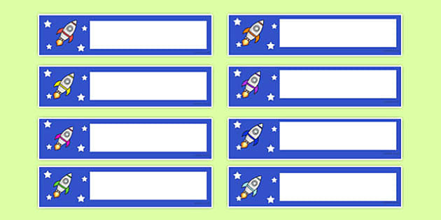 Rocket Themed Gratnells Tray Labels - rocket, tray labels, labels