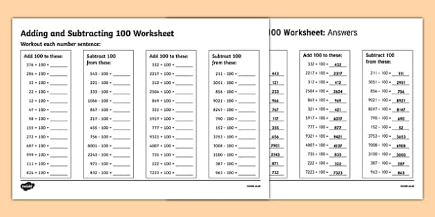 Adding and Subtracting 100 Worksheet - addition and subtraction