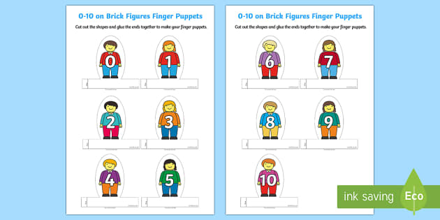 Numbers 1 to 10 Finger Puppets - EYFS, Early Years, Maths, Numeracy, counting, numbers to 10, number rhymes.