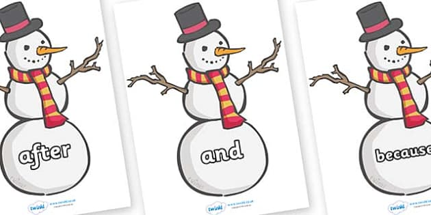 Connectives on Snowmen - Connectives, VCOP, connective resources, connectives display words, connective displays