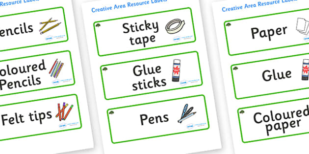 Yew Tree Themed Editable Creative Area Resource Labels - Themed creative resource labels, Label template, Resource Label, Name Labels, Editable Labels, Drawer Labels, KS1 Labels, Foundation Labels, Foundation Stage Labels