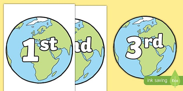 Ordinal Numbers on Planet Earth - ordinal numbers, numbers, planet, earth, space, display