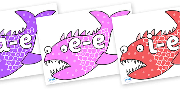 Modifying E Letters on Fish to Support Teaching on Sharing a Shell - Modifying E, letters, modify, Phase 5, Phase five, alternative spellings for phonemes, DfES letters and Sounds
