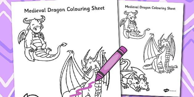 Medieval Dragon Colouring Sheet - Medieval, Dragon, Colouring