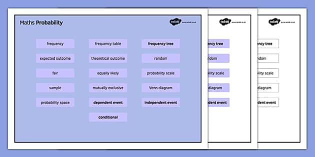 KS4 Maths Word Mat Probability - KS3, KS4, GCSE, Maths, keywords, vocabulary, revision, probability