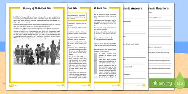 History of Surf Life Saving Australia Differentiated Reading Comprehension Activity - Surf Life Saving Australiasurf surfingbeachbeach safetylife saverlifeguard, Australia