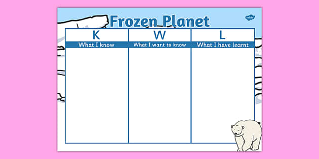 Frozen Planet Topic KWL Grid - frozen planet, topic, kwl grid, kwl, grid, frozen, planet, arctic, polar