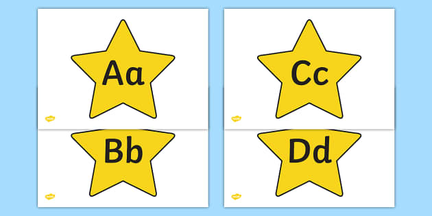 A Z Alphabet On Stars - a-z, alphabet, alphabet display, display