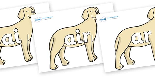 Phase 3 Phonemes on Dogs - Phonemes, phoneme, Phase 3, Phase three, Foundation, Literacy, Letters and Sounds, DfES, display