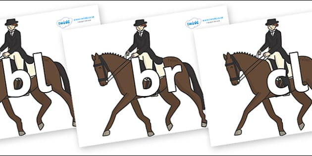 Initial Letter Blends on Equestrian (Horses) - Initial Letters, initial letter, letter blend, letter blends, consonant, consonants, digraph, trigraph, literacy, alphabet, letters, foundation stage literacy
