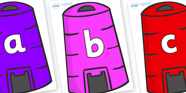 Phoneme Set on Recycling Bins - Phoneme set, phonemes, phoneme, Letters and Sounds, DfES, display, Phase 1, Phase 2, Phase 3, Phase 5, Foundation, Literacy