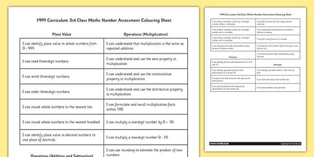 1999 Curriculum 3rd Class Maths Number Assessment Colouring Sheet - roi, gaeilge, maths, curriculum, 1999