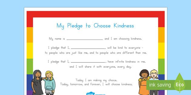 My Pledge to Choose Kindness Activity Sheet - Choose kindness, kindness, relationships, friendship, pledge, worksheet