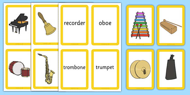 Musical Instrument Matching Cards Actions Pack - Music, instrument, action, word card, flashcard, word cards, playing instruments, piano, drums, guitar, recorder, violin, triangle, cymbals, notes, music