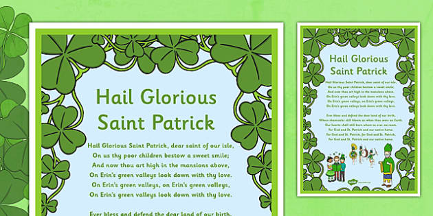Hail Glorious Saint Patrick Song Lyrics - st patrick , Ireland, song, traditional irish music, religion