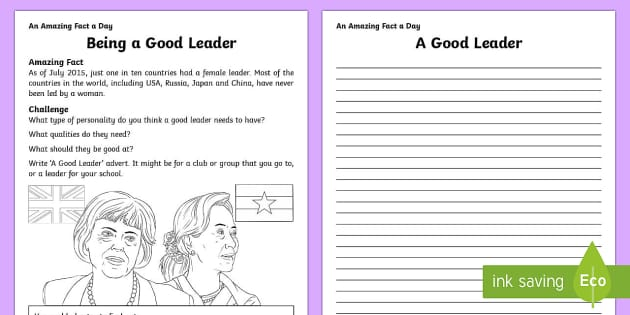Being a Good Leader Activity Sheet