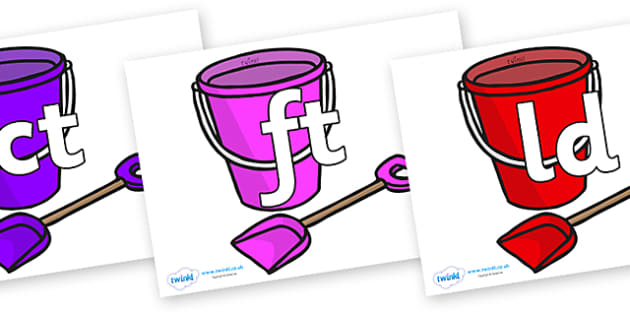 Final Letter Blends on Spade and Buckets - Final Letters, final letter, letter blend, letter blends, consonant, consonants, digraph, trigraph, literacy, alphabet, letters, foundation stage literacy