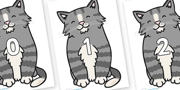 Numbers 0-50 on Kittens - 0-50, foundation stage numeracy, Number recognition, Number flashcards, counting, number frieze, Display numbers, number posters