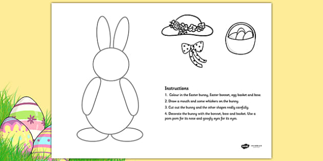 Cutting Skills Easter Bunny Activity - fine motor skills, cut out