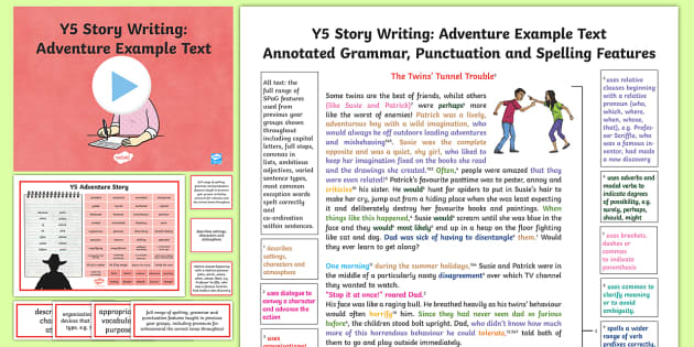Y5 Story Writing: Adventure Model/Example Text - Example Texts Y5, exemplification, moderating, moderation, wagoll, SATs, fiction, non-fiction, sampl, ARE, age-related example, model, model text, age-related model