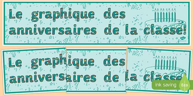 Le graphique des anniversaires de la classe! - french, birthday, graph, display banner, display, banner