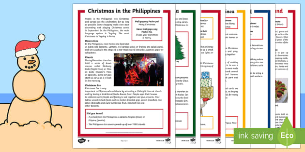 Christmas Around the World Differentiated Reading Comprehension Activity Pack - Christmas Australia,Australia