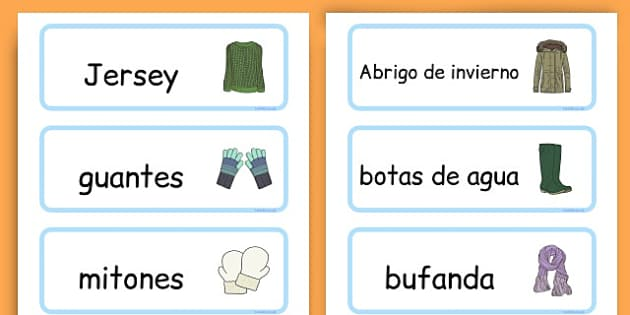Winter Clothes Word Cards - winter clothes, word cards, winter, clothes - Spanish