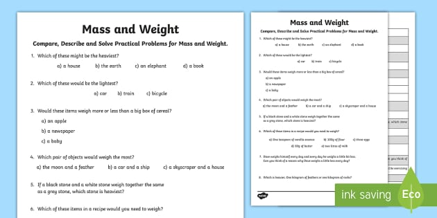Compare, Solve and Describe Practical Problems for Mass and Weight Activity Sheet - Learning from Home Maths Workbooks, compare, measure, reason, thinking skills, weight, mass, workshe